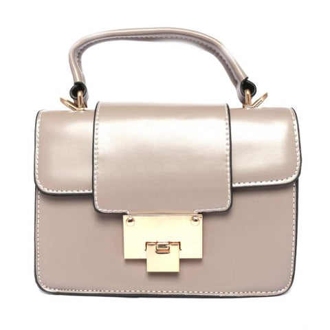 Leather Handbag (8 Inch Height and 6 Inch Width) - Gray