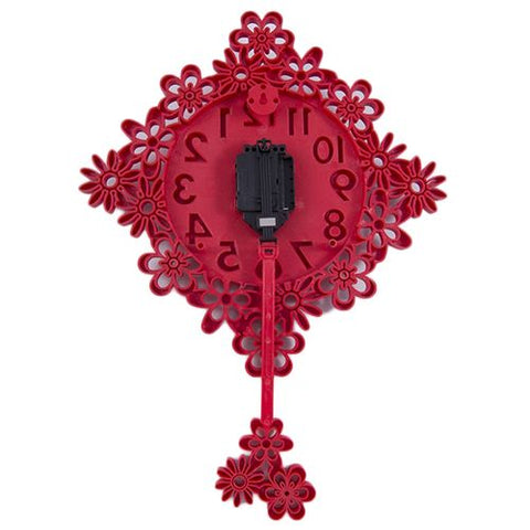 3D Mirrorless Excellent Finishing Non Ticking Wall Clock With Pendulum - Red