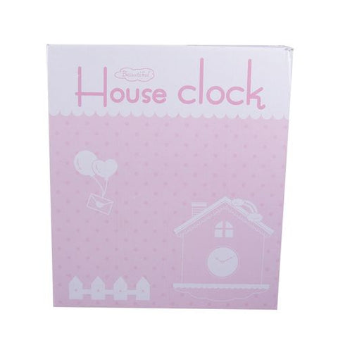 Cukoo Kity Cute House Home Pendulum Silent Wall Clock - Pink