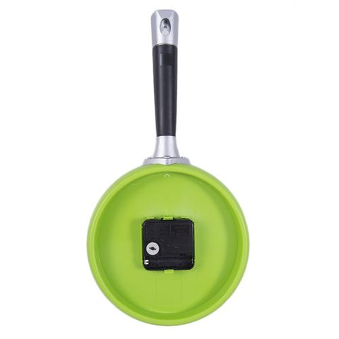 Frying Pan Kitchen Egg Cooking Mirrorless Non Ticking Wall Clock - Green