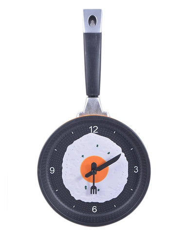 Mirrorless Frying Pan Wall Clock - 12 Inch (8 Inch Dial with 4 Inch Handle)