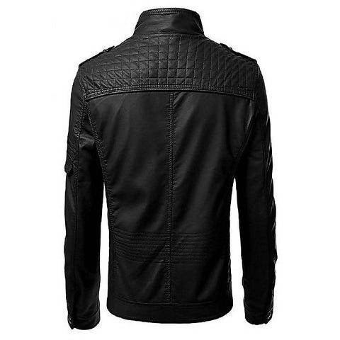 Men's Slim Fit Pu Leather Jacket MB-92