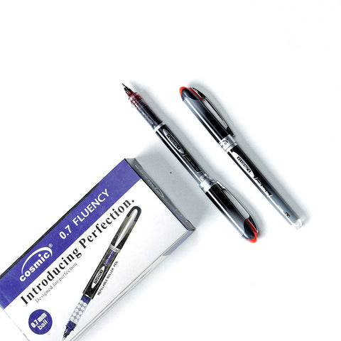 Happy Work Red Cosmic 0.7 Fluency Refilable Roller Pen ( Pack of 2)