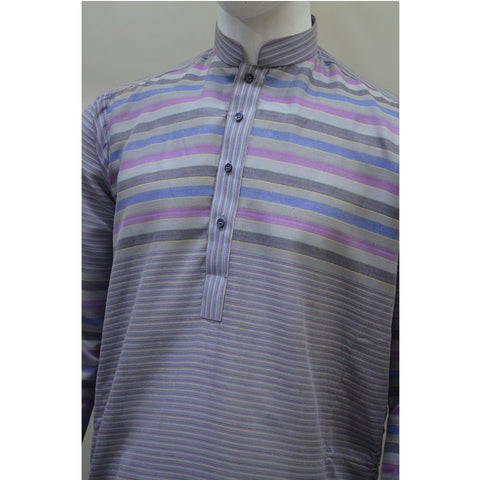 Kostume Light Blue Kurta with Multicolored Horizontal Stripes