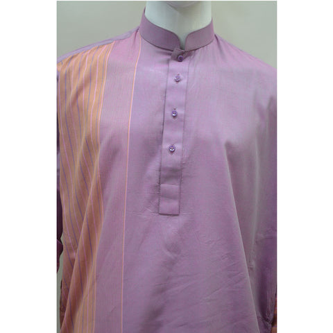 Kostume Light Purple Kurta with Orange Vertical Stripes