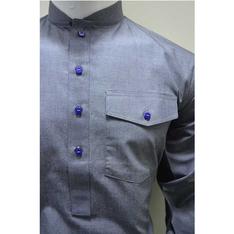 Kostume Gray Kameez and Shalwar with Blue Buttons