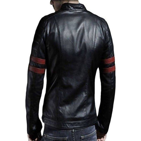 Moodish Men's Slim Fit Pu Black Leather Jacket M6