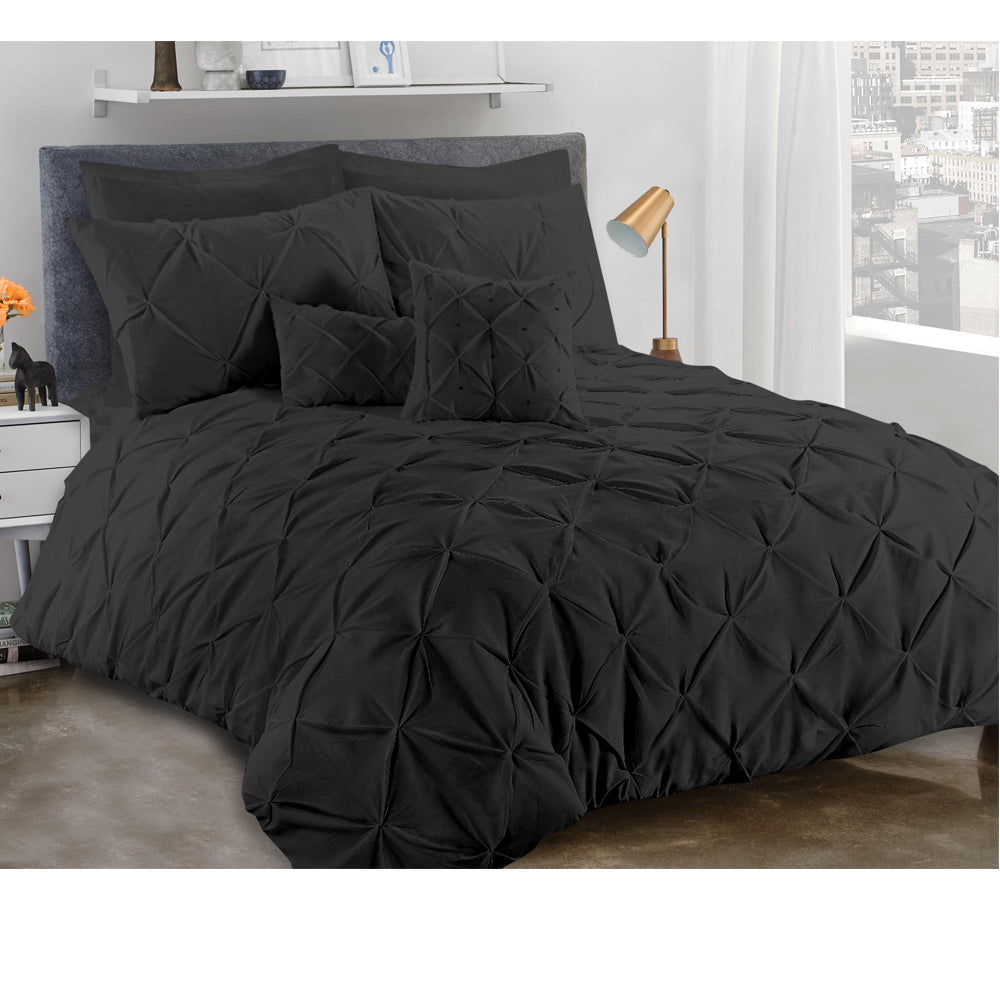 Elegant 8 PCS Diamond Polycotton Embllished Fancy Quilt Cover Set