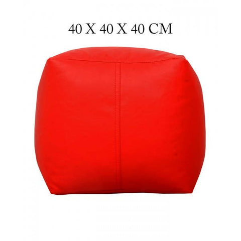 Relaxsit Square Shape Leather Stool Bean Bag - Red