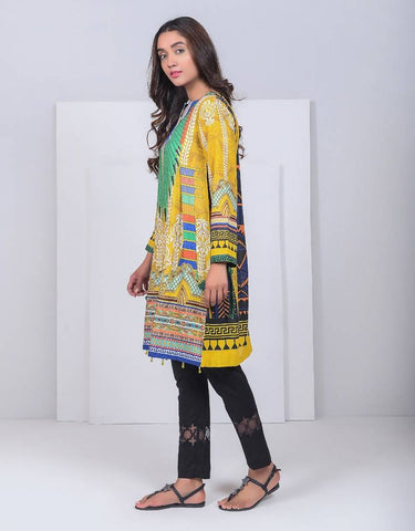 Digtal Print Khaddar Egyptian Wings Yellow