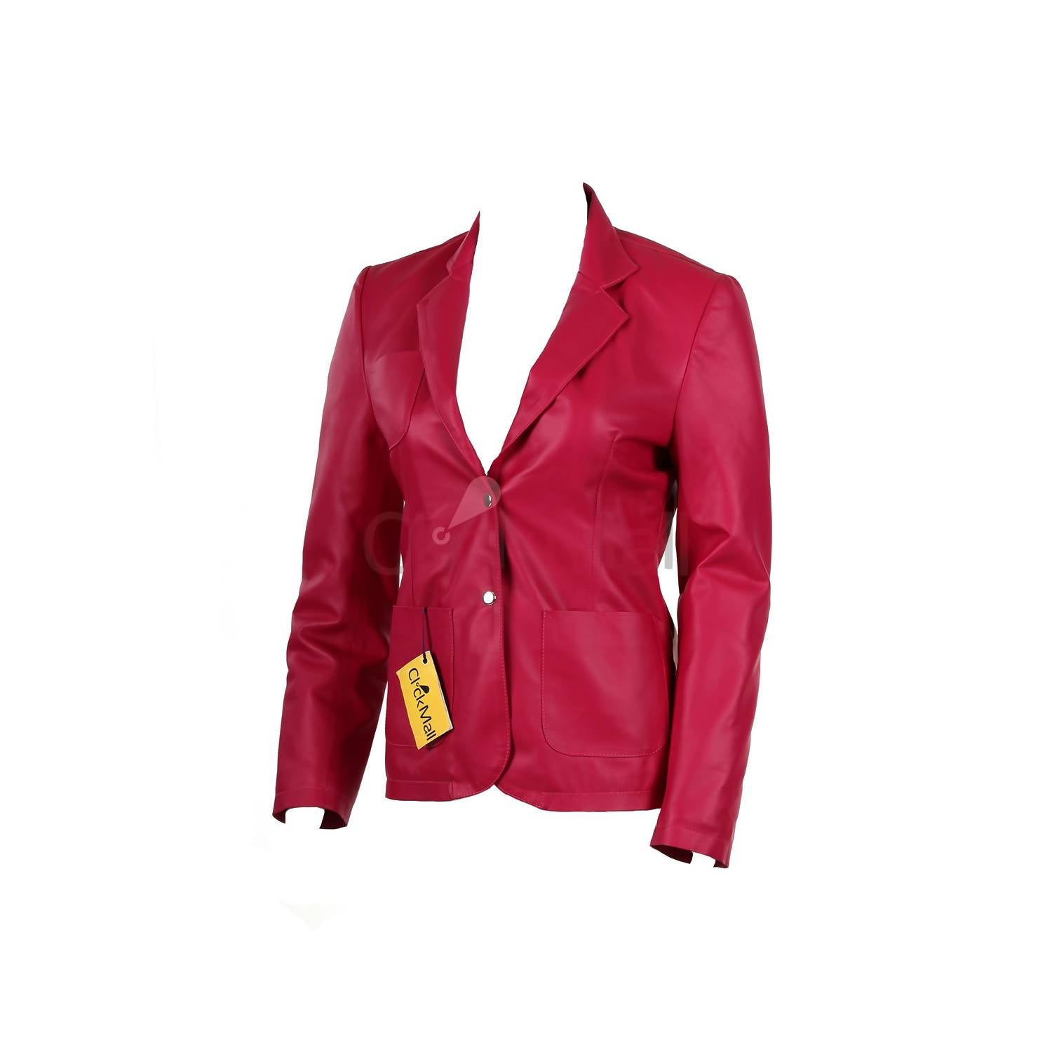 Megabrands Women's Slim Fit PU PINK Leather Coat MB - 99