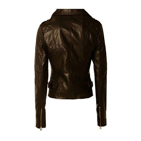 Women Slim Fit Pu Black Leather Jacket LMB