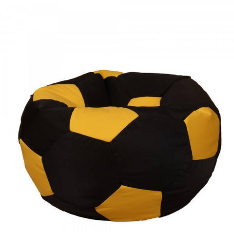 Relaxsit Kids Fabric Football Bean Bag Chair - Black & Yellow