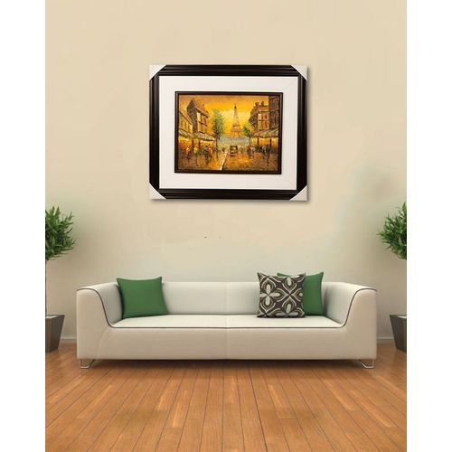 "Wall Painting Wall Art Decoration Eiffel Tower-20x25"" Dark Brown"