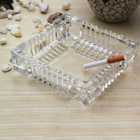 Glass Ashtray Square Crystal Heavy Smoke for Cigar Cigarettes Collectible Holder-2460