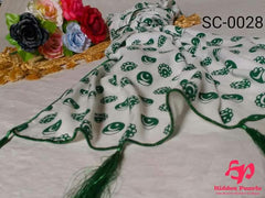 Hidden Pearls Scarf Green and White SC-0028