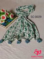 Hidden Pearls Scarf Green and White SC-0029