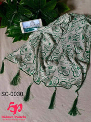 Hidden Pearls Scarf Green and White SC-0030