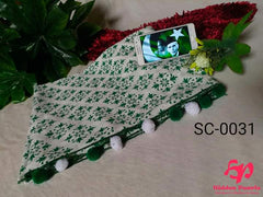 Hidden Pearls Scarf Green and White SC-0031