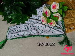 Hidden Pearls Scarf Green and White SC-0032