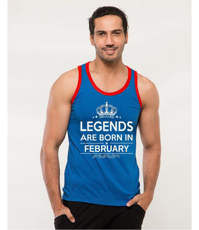Legends - Men's Royal Blue Born In February Printed Tank Top. TTLGND-02