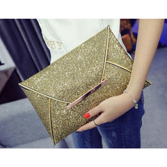 Shopping Mania Glitter Sparkling Envelop Clutch