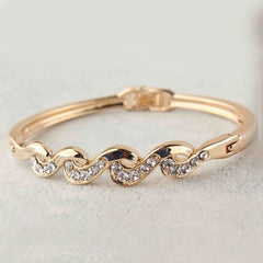 Shopping Mania Gold Filled Twist Austrian Crystal Bracelet Bangle