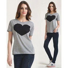 BuySense Grey Cotton Printed Half Sleeves Round Neck T-Shirt For Women