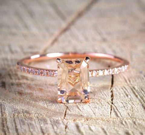 Luxury 18KT Rose Gold Zircon Ring Set