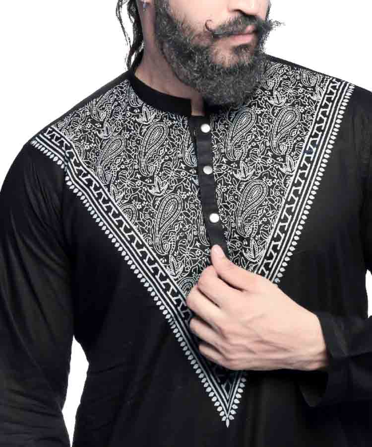 Black Screen Printed Kurta-H-31
