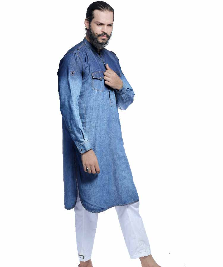 Denim Two Toned Washed Kurta-H-34