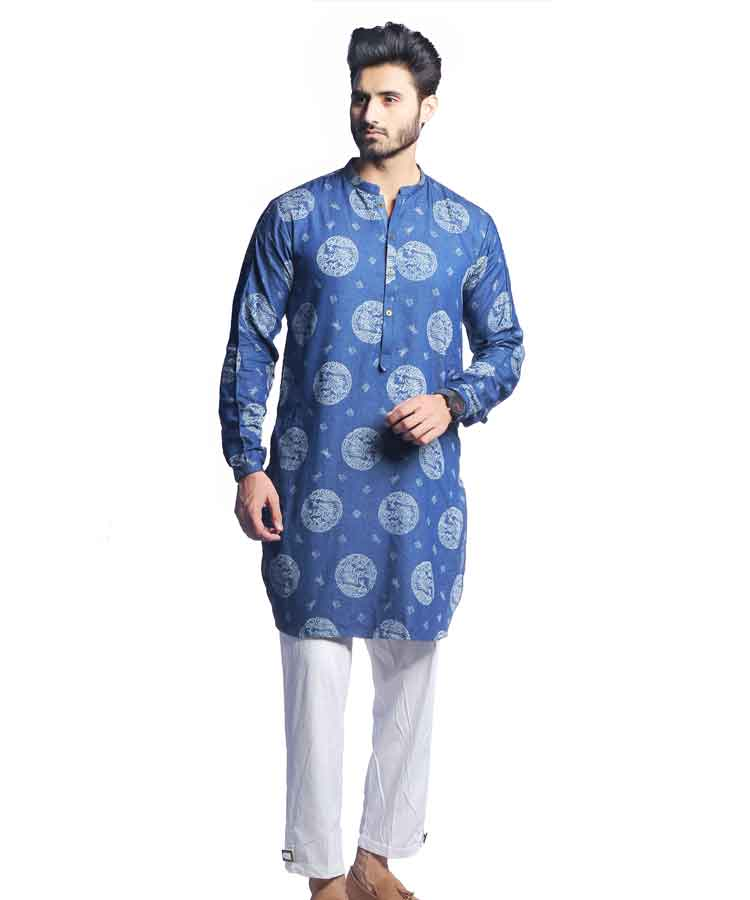 Blue Chambray Self Printed Kurta-H-38