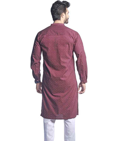 Purple And Golden Printed Kurta-H-40
