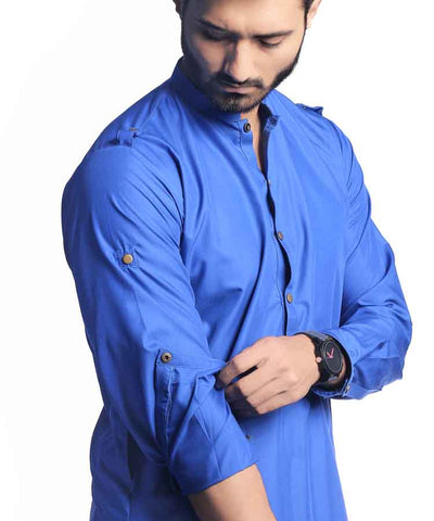 RoyaL Blue Short Kurta With Pajama-H-43