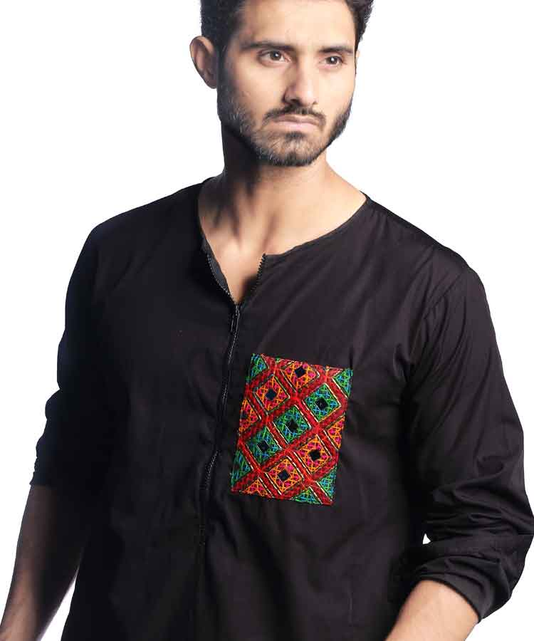Black Front Pocket Kurta With Zip Style-H-45