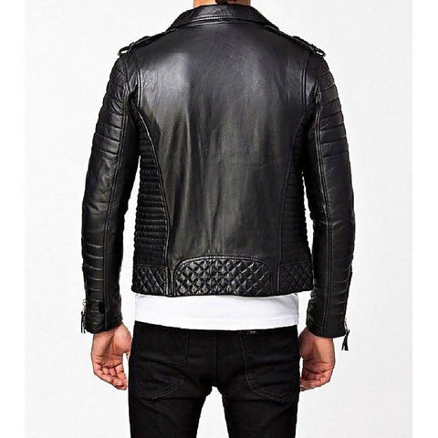 Men's Slim Fit PU Biker Style Black Leather Jacket MB-116
