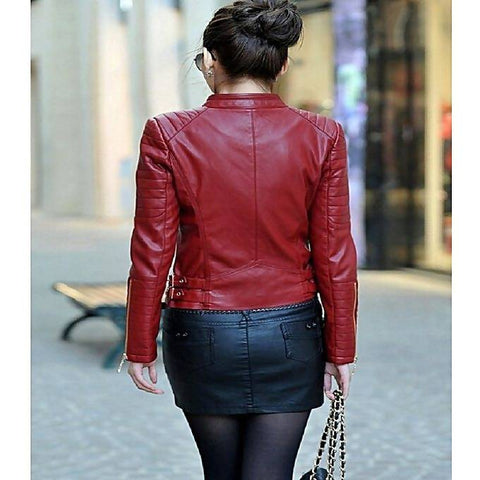 Women Slim Fit Pu Red Leather Jacket 1314