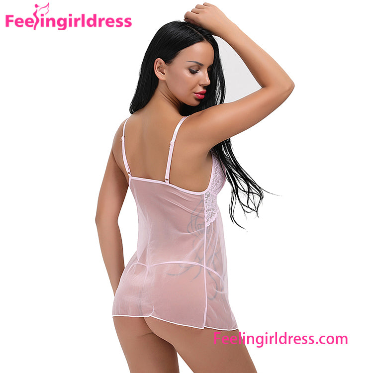 Hot Pink Teddies Transparent Sexy Asian Girls Wearing Baby Doll Lingerie-1226