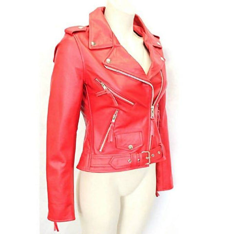 Women Slim Fit Pu Red Leather Jacket MB-86