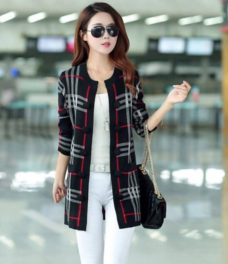 Women's Black Button Down Fleece Checkered Jacket. BLK-CJ