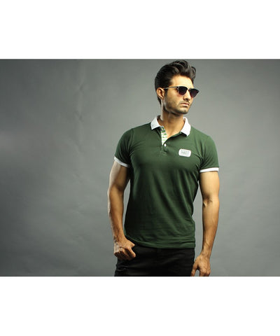 Bottle Green Polo Shirt with White Collar-PL-02