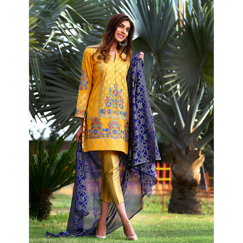 Jacquard EMB Lawn Shirt with Crickle Chifoon Duppata - JSSC-463