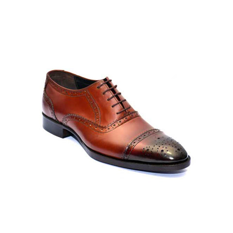 Mentorii Shoes Oxford Leather With Patant Toe JD 010 Brown