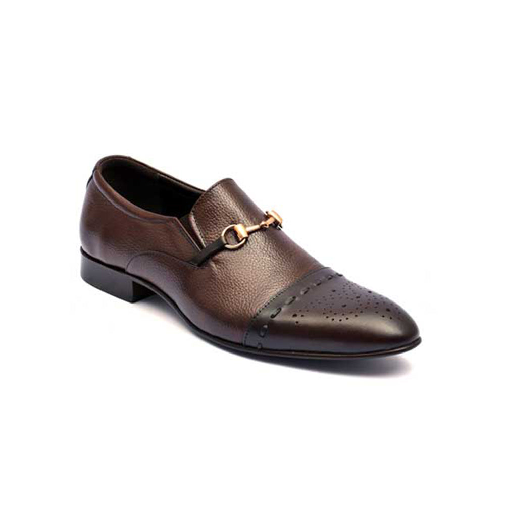 Mentorii Shoes Loafer With Oxford Style Leader JD 014 Brown