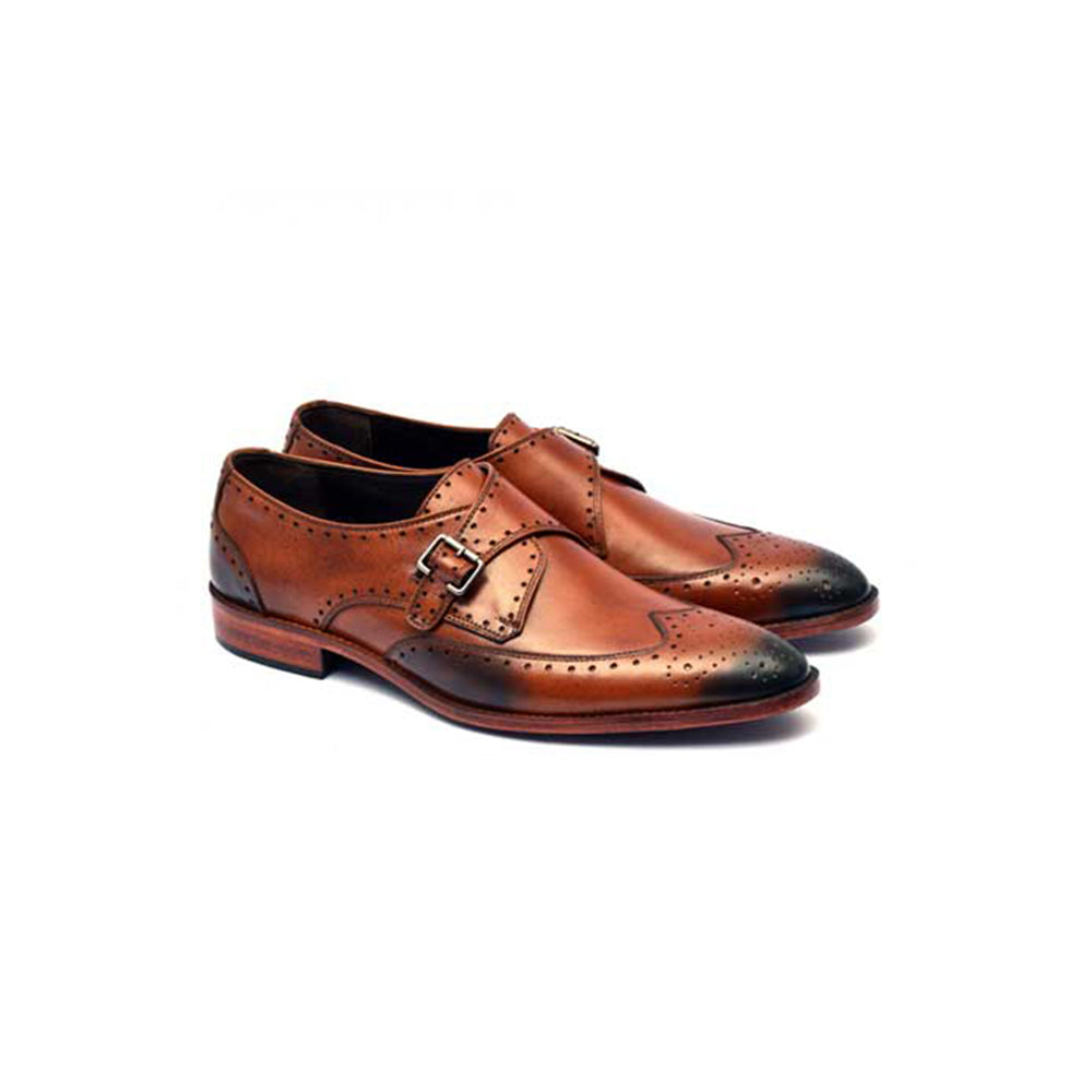 Mentorii Shoes Side Buckle Brook JD 021 Brown
