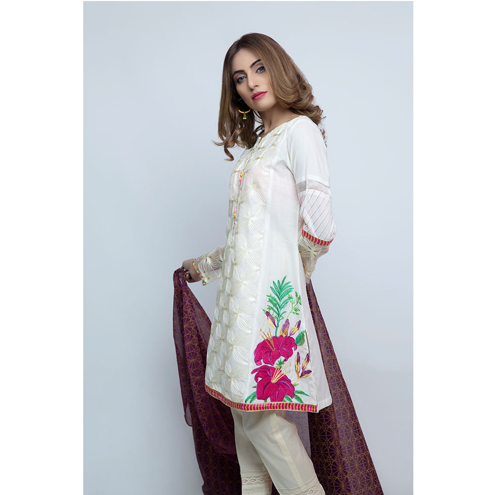 Jacquard Embroidered Panel Shirt With Printed Sleeves and Duppata - JSRC-393