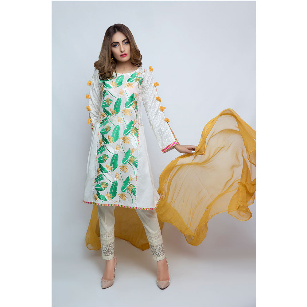 Jacquard Embroidered Lawn Shirt with Duppata - JSRC-398