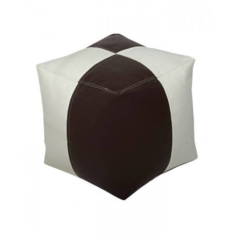 Relaxsit Square Shape Leather Stool Bean Bag - White & Brown