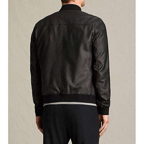 Mega Brands Men' Slim Fit Pu Black Bomber Jacket B-02