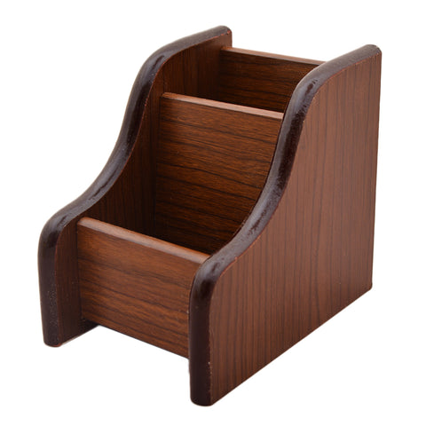 Beautiful Hand Crafted Wooden Stationary Holder - Brown - K-350